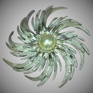 Fabulous Massive Sarah Coventry Faux Pearl Swirl Brooch Pin