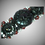 Striped Beads Vintage Black Glass Stacked Button Beaded Bracelet