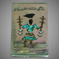 Crushed Turquoise Coral Inlay Kachina Sterling Silver Money Clip