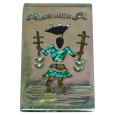 Vintage Native American Indian Crushed Turquoise Coral Inlay Kachina Sterling Silver Money Clip