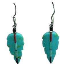 Native American Indian Zuni Turquoise Coral Jet MOP Inlay on Carved Turquoise Dangle Pierced Earrings