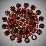 Vintage Signed Weiss Ruby Red Large Rhinestone Brooch Pin