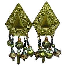 Mixed Metal Long Dangle Pierced Earrings