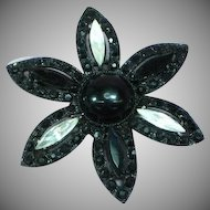 Vintage Signed Weiss Japanned Black Clear Rhinestone Flower Pin Brooch