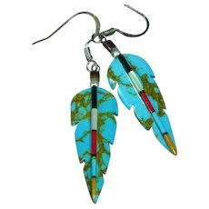 Native American Indian Zuni Turquoise Coral Jet MOP Applied on Carved Turquoise Dangle Pierced Earrings