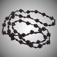 Vintage Arizona  Garnets  Woven Endless Cluster Style Necklace