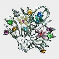 Spectacular Vintage  Rhinestones Enamel Flower Basket Pin Brooch