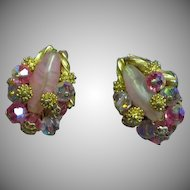 Alice Caviness Exquisite Designer Pink Crystal Gold Beaded Clip Earrings