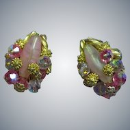 Alice Caviness Signed Exquisite Designer Pink Crystal Gold Beaded Vintage Clip Earrings