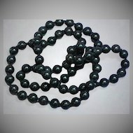 Stunning Natural Hand Rounded Black Onyx Hand Knotted Bead Necklace