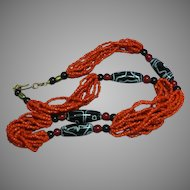 Coral Multi Strand Coral Trade Bead Tribal  Necklace