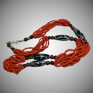 Coral Multi Strand Trade Bead Tribal  Necklace