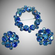 Weiss Signed Blue A/B Rhinestone Pin Brooch Clip Earrings Set Demi Parure