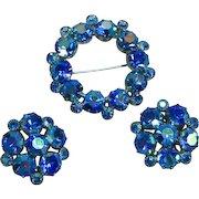 Weiss Signed Blue A/B Rhinestone Pin Brooch Pierced Earrings Set Demi Parure