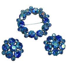 Weiss Signed Blue A/B Rhinestone Pin Brooch Clip Earrings Set Demi Parure