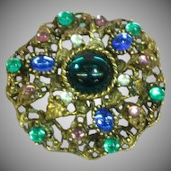 Vintage Gripoix Glass Cabochon  Poured Glass Rhinestones Pin Brooch