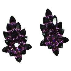 Vintage Purple Rhinestone Pierced Earrings