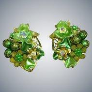 Beaujewels Signed Designer Vintage Three Dimensional Greens Aurora Borealis Floral Motif Rhinestone Clip Earrings