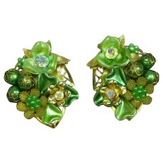 Beaujewels Signed Designer Vintage Three Dimensional Greens Aurora Borealis Floral Motif Rhinestone Clip Earrings