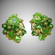 Beaujewels Signed Vintage Three Dimensional Greens Aurora Borealis Floral Motif Rhinestone Clip Earrings