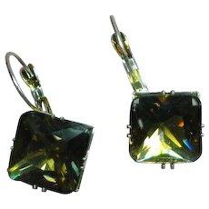 Large Glass Smoky Topaz Rhinestone Silver Tone Pierced Earrings