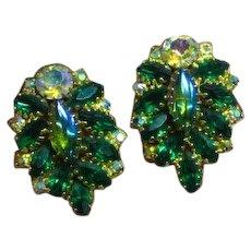 Sapphire Blue Emerald Green Glass Cabs & Rhinestones Clip Earrings