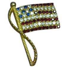Rafaelian Signed Vintage American Flag Red White Blue Rhinestone Pin Brooch