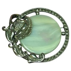Gorgeous Mother of Pearl Marcasite Thistle Pin Brooch