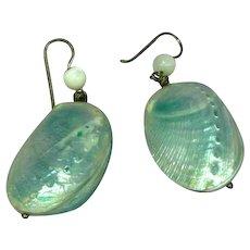 Baby Abalone Shell Dangle Pierced Earrings