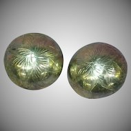 Sterling Silver Etched Large Button Clip Earrings