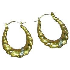 14K Yellow Gold Graduated Puffy Twist Spiral Diamond Vintage Hoop Pierced Earrings