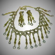 Goldette Unsigned Smoke Rhinestones Smoke Crystal Dangle Necklace Clip Earrings Set Demi Parure