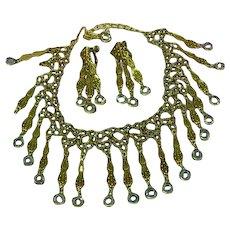 Goldette Unsigned Smoke Rhinestones Smoke Crystal Dangle Necklace Clip Earrings Set Demi Parure
