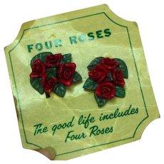 Four Roses Whiskey Promotional Advertising Composite Screw Back Earrings MOC