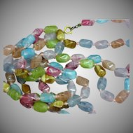 Extra-Long Art Glass Beads Hand Knotted Pastel Color Flapper Necklace