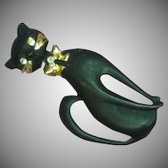 Sleek Vintage Sophisticated Kitty Enamel and Rhinestone Black Cat Large Pin Brooch