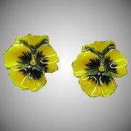 Gorgeous Yellow and Purple Enamel Clip Earrings