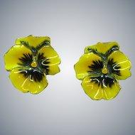 Gorgeous Yellow  Purple Pansy Flower Enamel Clip Earrings