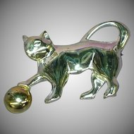 Shiny Silver Kitty Cat With Gold Ball Pin Brooch