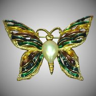 Beautiful Luminescent Enamel Ribbons Pearl Butterfly Pin Brooch