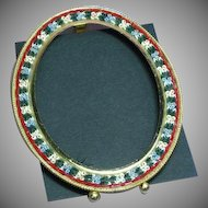 Vintage Italian Micro Mosaic Oval Picture Frame
