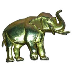J.J. Signed Gold Tone 3-D Detailed Elephant Pin Brooch