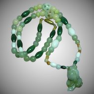 Rare Chinese Translucent Carved Nephrite All Jade Carved Fish Pendant Necklace