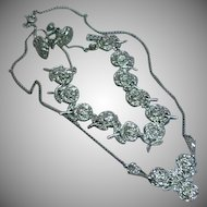 Exquisite Rhodium Plate Sterling Silver and Marcasite Vintage Rose Necklace Link Bracelet and Earrings Set Demi Parure