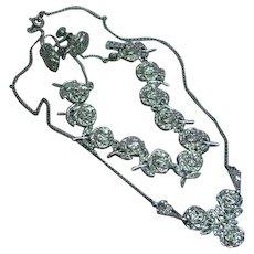 Exquisite Rhodium Plate Sterling Silver Marcasite Vintage Rose Necklace Link Bracelet Earrings Set Demi Parure