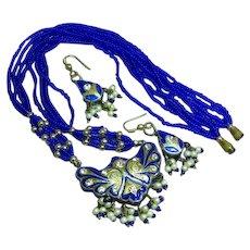 Chinese Export Blue Enamel Double Sided Rhinestones Pendant Necklace Pierced Earrings Set Demi Parure