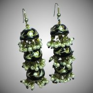 Fabulous Chinese Export Black Green with Gold Enamel  Chandelier Rhinestones Three Tier Dangle Pierced Earrings