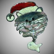 Vintage Kitty Santa with Dangle Fish Pin Brooch
