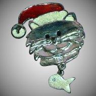 Vintage Kitty Santa with Dangle Fish Pin Brooch