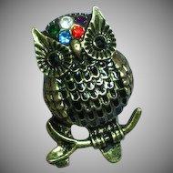 Enamel Rhinestones Owl Ring